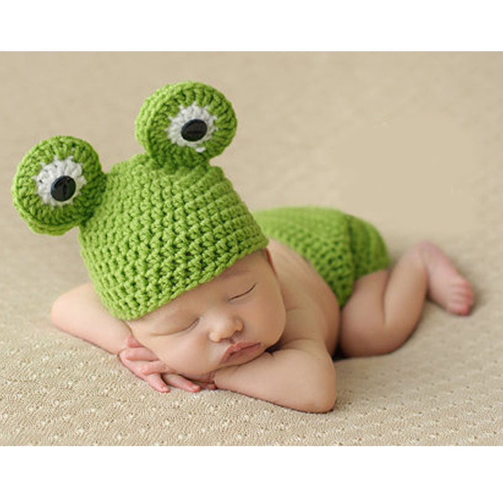 02d0ad1bf Cute Newborn Photography Props Baby Hat Crochet Baby Green Frog ...