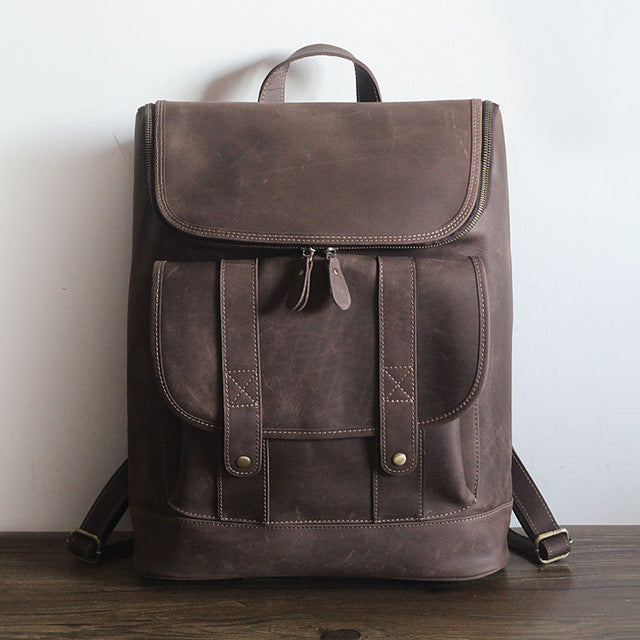 eaeb3280f1c7 vintage unisex genuine leather backpack men/women all cow leather leisure  travel knapsack 15 inch laptop cowhide field pack