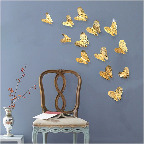 12pcs 3D Hollow Butterfly Wall Sticker for Home Decor DIY Butterflies Fridge stickers  Room Decoration Party Wedding Decor