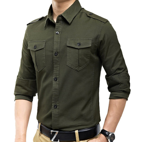 New arrivals military vintage slim fit long sleeve shirt causaul shirts Yellow Army green M-XXXL A6620