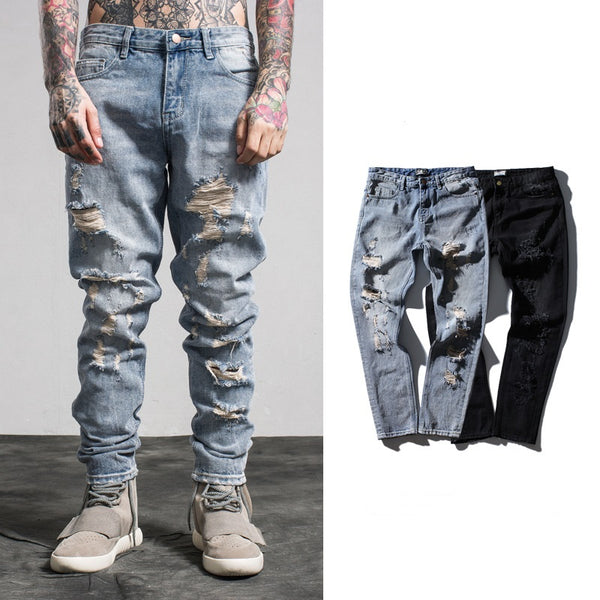 New Arrival Casual Street Wear Pencil Pants Mens Jeans Hole Jeans For Male Embroidery Flowers Hip Hop Solid Pants For Cool Boy