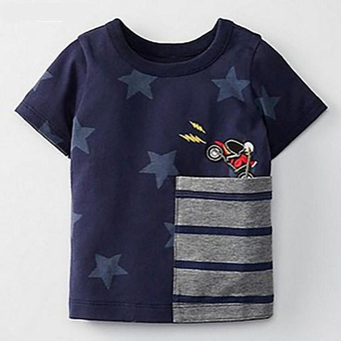 Little maven children summer baby boys clothes short sleeve star print t shirt striped pocket cotton brand tee tops 51008
