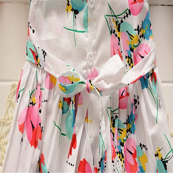 Baby Girls Summer Dress Toddler Kids Flower Printed Cotton Dresses Children Dress Baby Casual Kids Girl Dress Clothing
