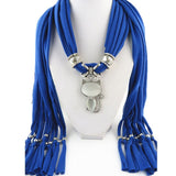 Style Winter Women Crystals Cat Pendant Scarf Polyester Solid Scarf Neckerchief