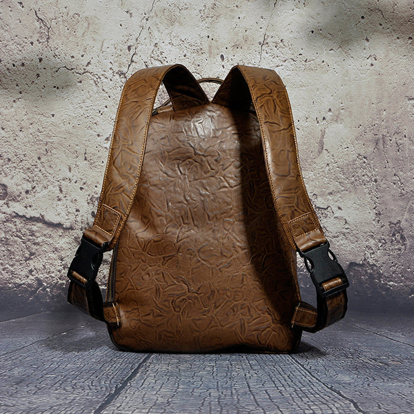 New Design Female Male Leather Casual Fashion Large Capacity Travel University School Student Bag Backpack Daypack Women Men 621