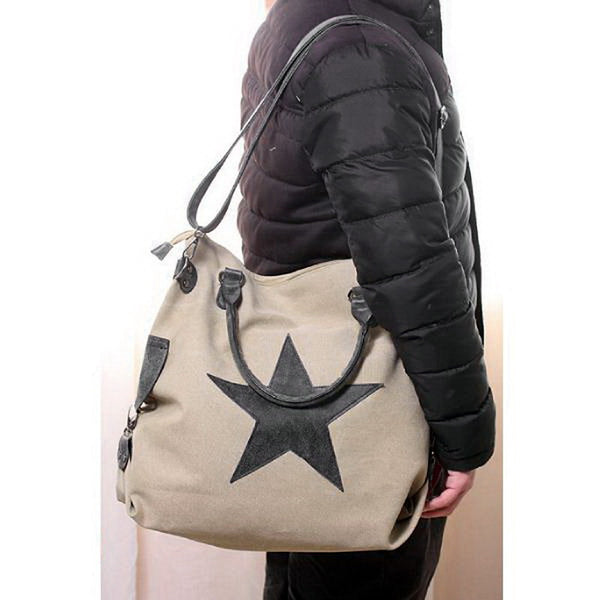 Vintage Big Star Canvas Totes Handbag Unisex Casual Multifunctional Travel Shoulder Bag Crossbody Beach Bags WHDV0093