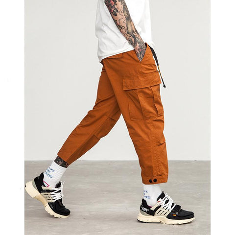 Male Jogger Casual Plus Size Cotton Trousers Multi Pocket Military Style Army Green Orange Men's Cargo Pants 8403S