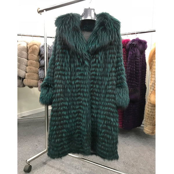 Winter Warm Real Fox Fur Coat Women Thick Fashion Natural Silver Fox Fur Coats Luxurious Female Overcoat ZC1710