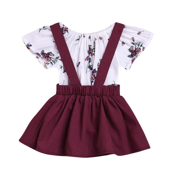 Beautiful Kids Toddler Baby Girl Floral Tops Princess Party Dresses T-shirt Clothes Dresses Set