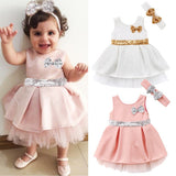 Super Cute Babies Sequins Tulle Layered Dress  Toddler Baby Girls Princess Bowknot Tulle Pageant Party Dresses Sundress