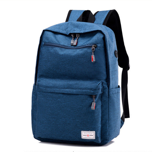 Men Women Backpack Casual School Bags with Headphone Holes School Backpack Shoulder Bag Teenager Travel Daypack Bag Mochila