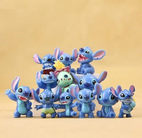 12 Pcs/set Cute Lilo Stitch Mini Figures PVC Action Figure Toy Miniature Toys Adorable Collectible Model For Children Gift