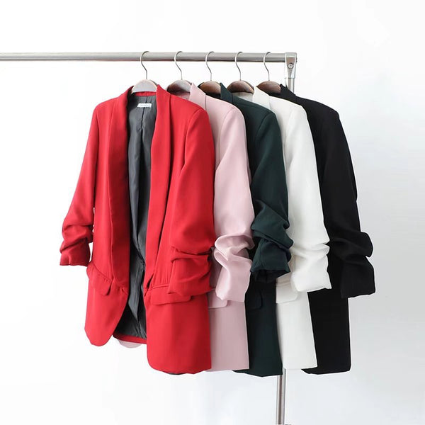 Jacket women elegant 5 color outerwear pocket office casual fashion jacket