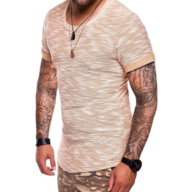 Men Jacquard weave t shirt Slim Fit short sleeve t-shirt Men hip hop tshirt streetwear funny t shirts