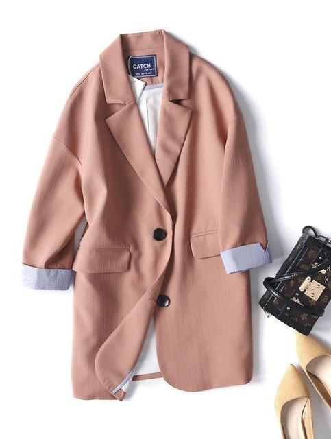 Double Breasted Women Suit Jacket female Korean Medium Long female Coat blaser feminino Casual coat female Autumn blazers