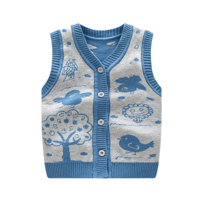 Cotton Baby Vest Wool Cardigan Vest Crochet Fashion Boy Clothes