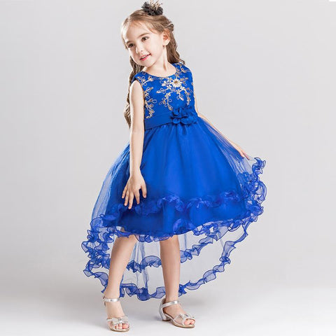 Kid Girls Wedding Flower Dress Elegant Princess Party Pageant Formal Dress Sleeveless Sequins Trailing Dress for Party Wear