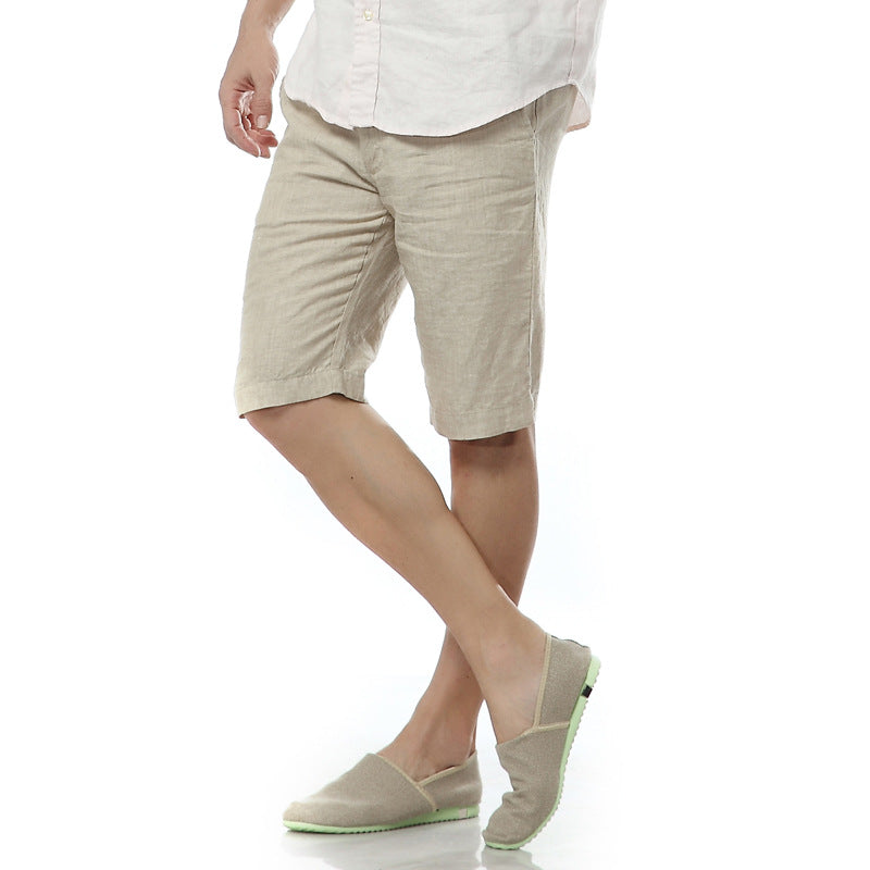 7 Colors Italy linen casual shorts men summer flax fashion short men white solid shorts mens stright brand short mens bermuda
