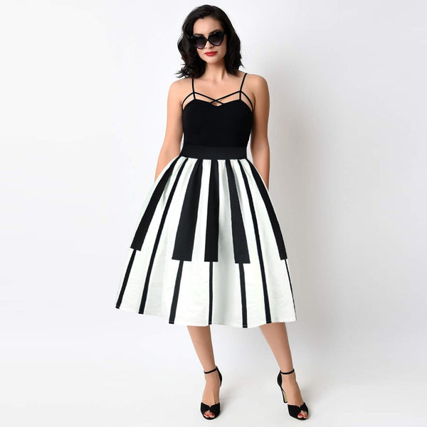 Fashion Women Sexy Party Dress Piano Keys Printed High Waist Thin Fancy Pattern White Summer Casual Dress  A20