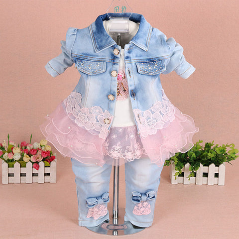 Baby Girl Clothes Sets Lace Floral Denim Jacket+T-shirt+Jeans Kids 3pcs Suit Set Toddler Infant Baby Clothing