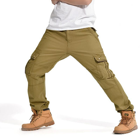 Classic Mens Cargo Jeans Pants with Multi Pockets Hip Hop Street Loose Fit Baggy Army Green Casual Pure Cotton Trousers