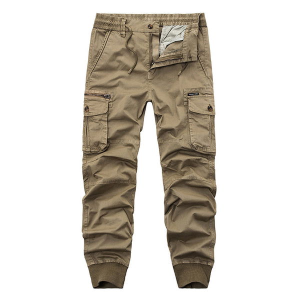 Casual Joggers Solid Color Pants Men Cotton  Elastic Trousers Military Style Army Cargo Pants Mens Leggings 29-38
