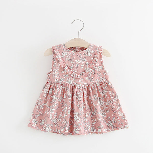 Dresses for Girls Summer Floral Print Cotton Baby Dress 2018 Lovely Flower Print Princess Dresses Baby Girl Clothing For 0-2 Kid