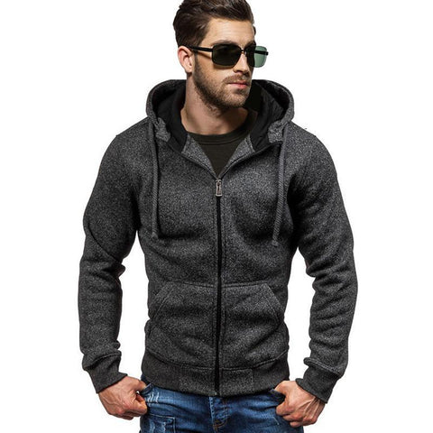 2018 New Spring Fleece Hoodies Men Fashion Solid Sweatshirts Zipper Cardigan Cotton Sportswear Slim Fit Men's Tracksuit