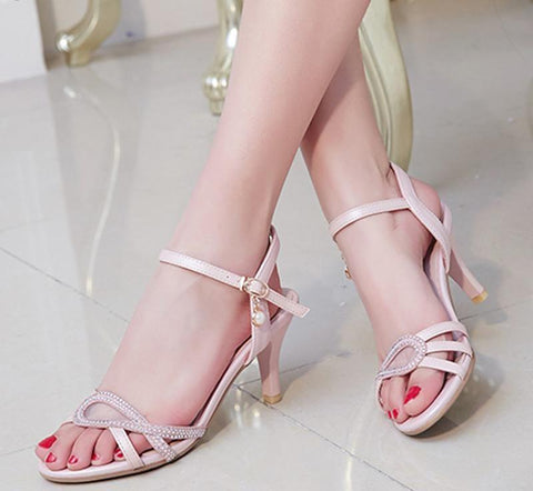 Summer Rome Style Sandal Fashion 7cm Gladiator Women Sandals thin High Heels Ankle strap Pink White Women Shoes Size 30-43
