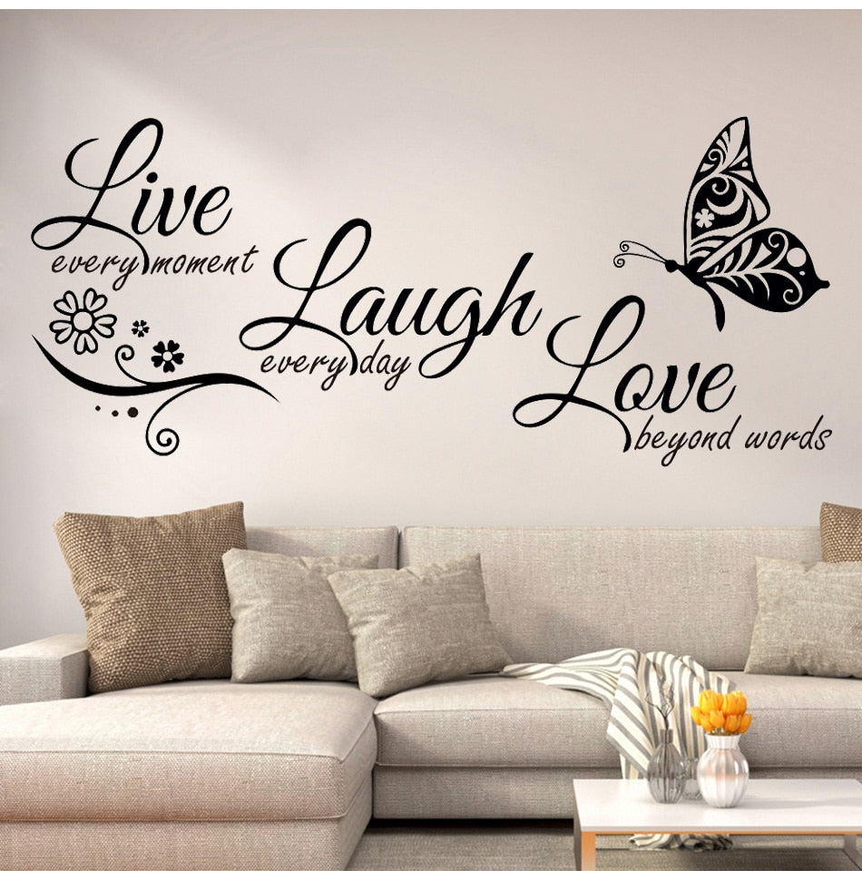 Live laugh love butterfly flower wall art sticker modern wall decals quotes vinyls stickers wall stickers