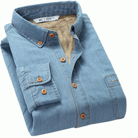 Autumn and Winter thick plus cashmere warm shirt men long-sleeved slim cotton men shirts brand denim shirt mens camisa 4XL