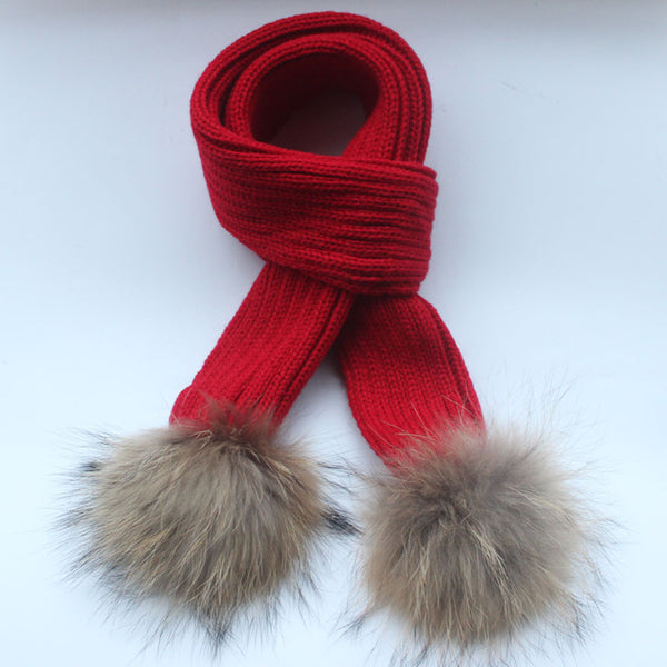 150*16cm crochet Children Scarf  wool Knitted Winter Fur Scarves With Detachable Real Raccoon Fur Pom Poms neckwarmer scarf