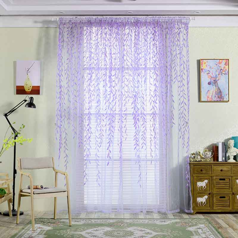 Cute Willow leaf Tulle Curtains Blinds Voile Pastoral Style Willow Floral Window Decorative cortinas for bedroom Living Room