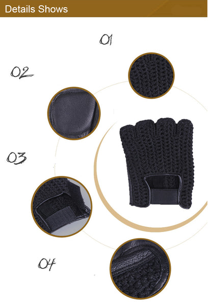 Genuine Leather Semi-Finger Men Gloves Half Finger Sheepskin Fashion Hand Back Knitted Breathable Driving Leather Gloves TB06