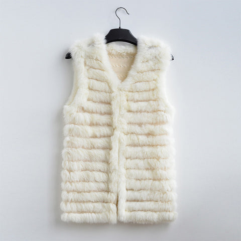 new women fashion warm fur vests rabbit hair fur coat  warm with a variety of color optional beige black plus size