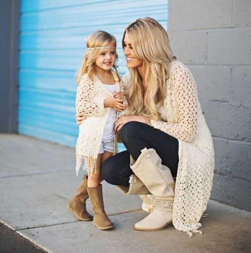 Children Girls Mom Casual Outwear Top 2pcs Family Mother Daughter Matching Outfits Hoodies Set Knit Cardigan Coat Vest