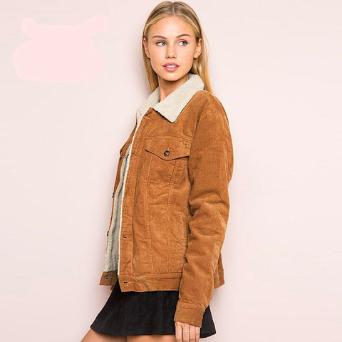 Winter jacket Women Long Sleeve Turn-down Collar corduroy Jacket Women Single Breasted fashion warm coats outwear