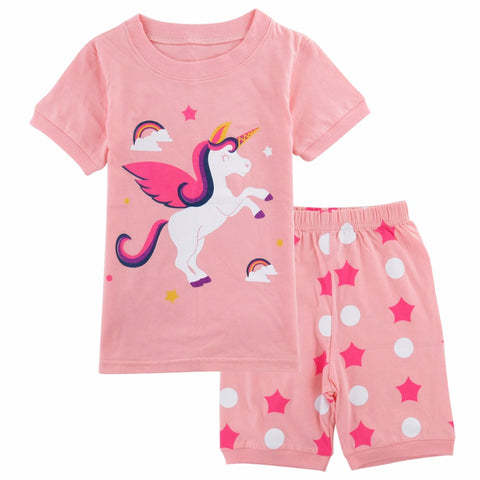 Girls Unicorn Sleepwear Child Unicornio Mermaid Pyjamas Kids Spring Summer Pajamas Homewear Clothing Set