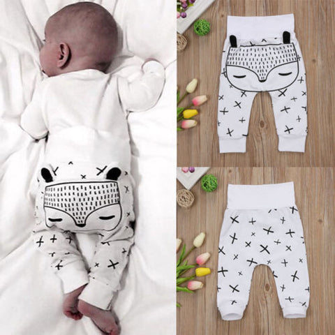 Cute Kids Toddler Newborn Baby Boys Girls Long Harem Pants Trousers Leggings Fox Bottom Clothes