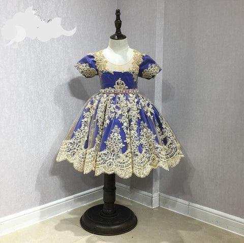 Flower Girl Dresses Royal Blue with Gold Lace Crystal Sash Cute Girls Prom Pageant Dress Custom Made