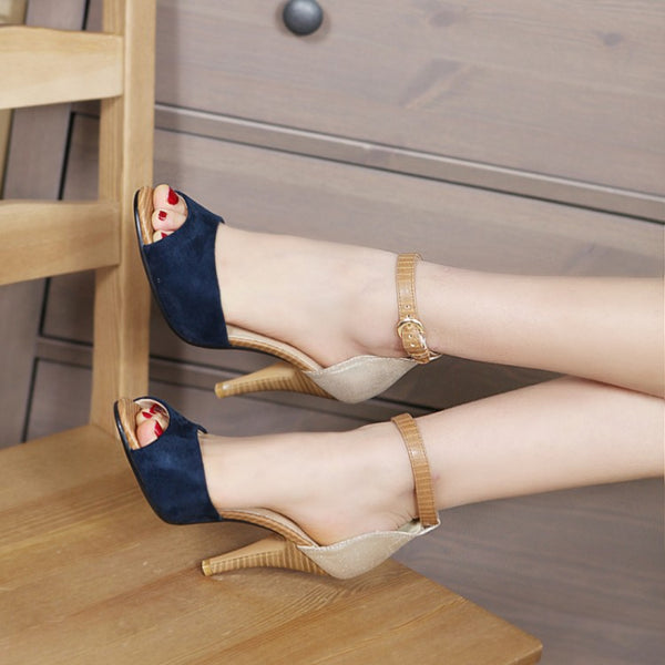New Color Block Decoration Small Yards 32 33 Open Toe Sandals Sexy Thin Heels High-heeled Women Shoes
