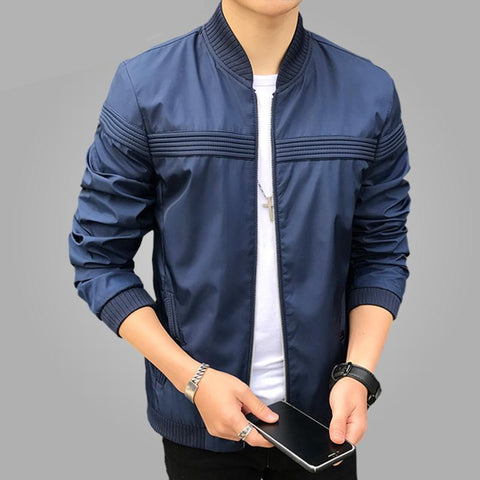 Brand New Spring Casual Bomber Jacket Men Solid Fashion Patchwork Stand Collar Men's Jackets and Coats Male Zipper Plus Size 4XL