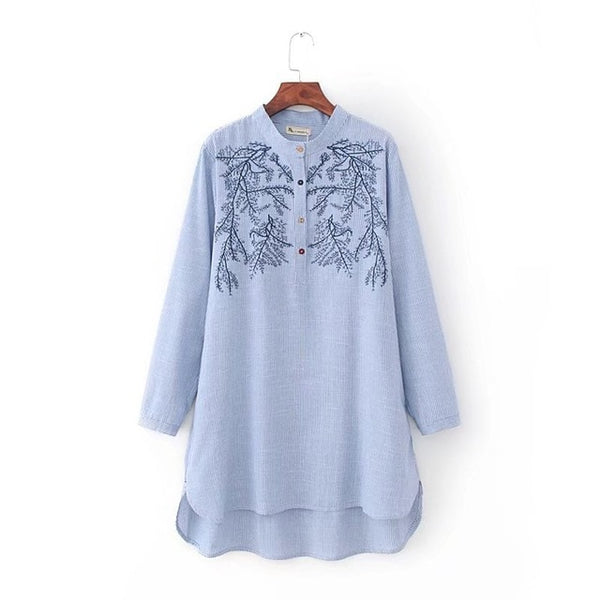 Stand Collar Long Blouse Shirt Women Plus Size 3 4 XL Embroidery Casual Striped Shirts KKFY82