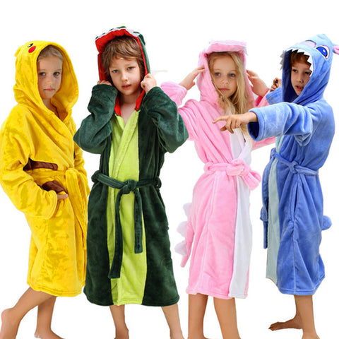 Kids Dinosaur Robes Pokemon Pikachu Boys Girls Sleepwear Pajamas Children's Bathrobe Flannel Hoodie Robe Enfant Clothes for Bath
