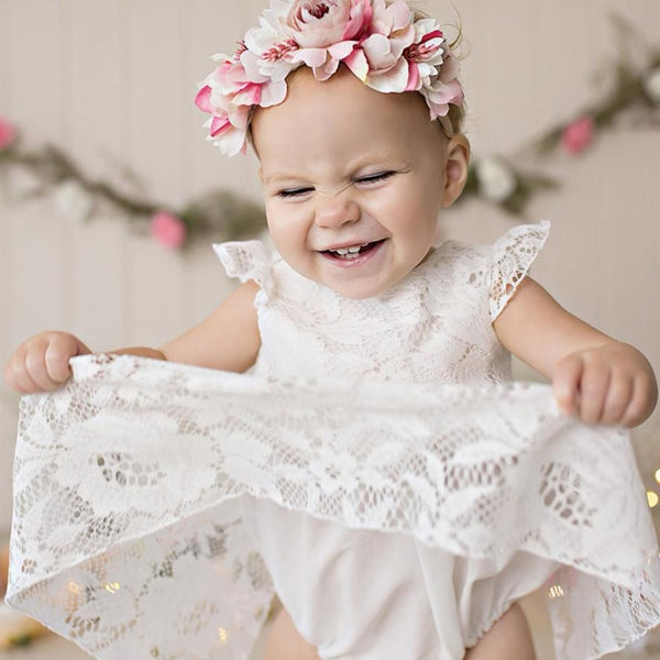 Baby Girls Ruffles Sleeve Dress Romper White Lace Round neck Sleeveless lovely Outfits Vetement Bebe Fille yf3