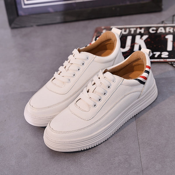 Fashion Women Sneakers Street Style Lace up Flat Women White Shoes Creepers Special Design for You Plus Size 41 42