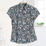 Summer Short Sleeve Beach Shirt Women Floral Blouses Print Ladies Tops Plus Size Blusas Women Clothes Fashion Shirt