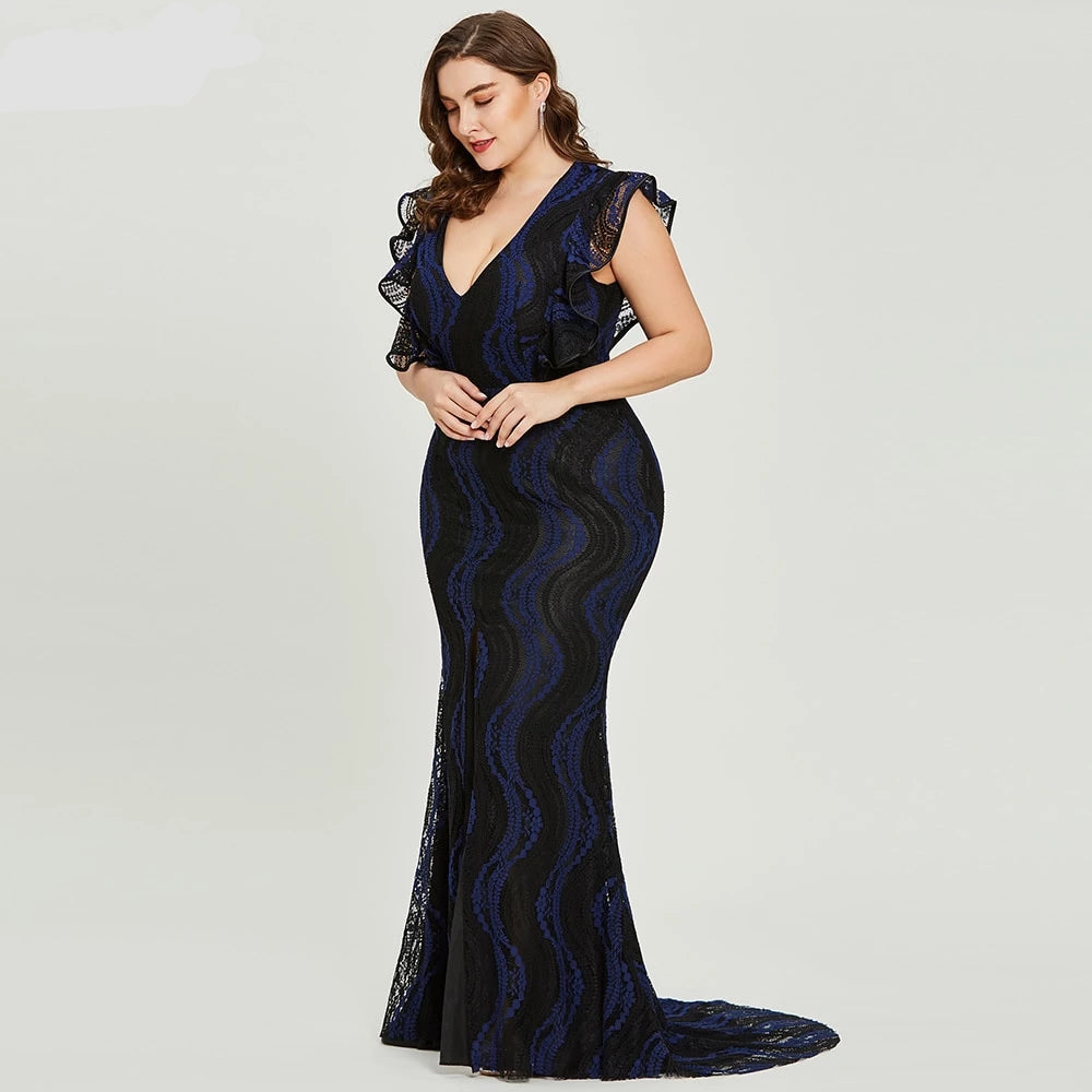 dark royal blue plus size evening dress elegant trumpet cap sleeves wedding  party formal dress lace evening dresses