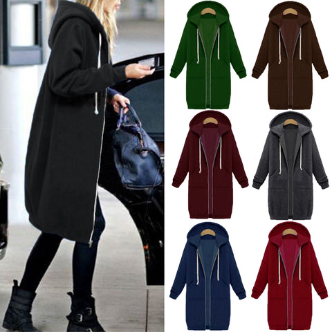 Autumn Winter Casual Women Long Hoodies Sweatshirt Coat Zip Up Outerwear Hooded Jacket Plus Size Outwear Tops