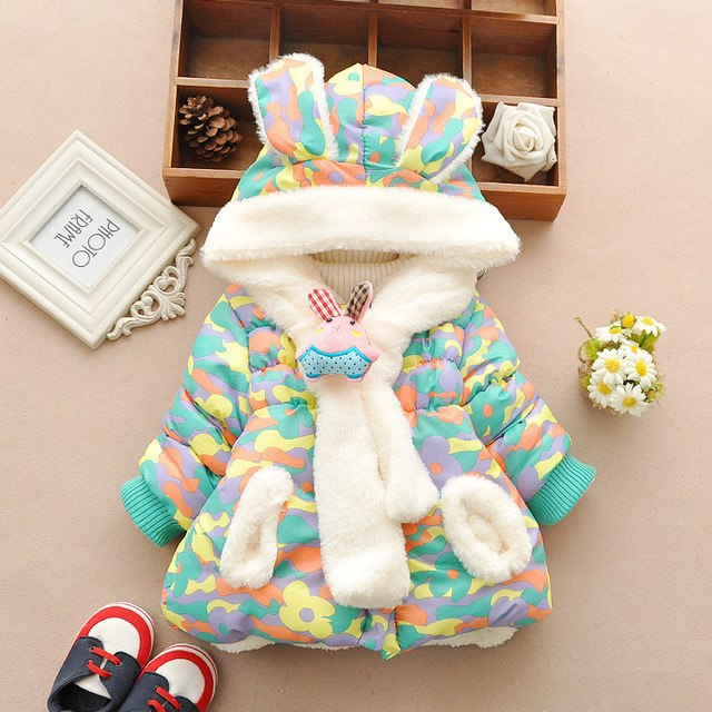 36c7c7db5 Cute Rabbit Baby Winter Jacket Thick Cotton-Padded Baby Girl ...